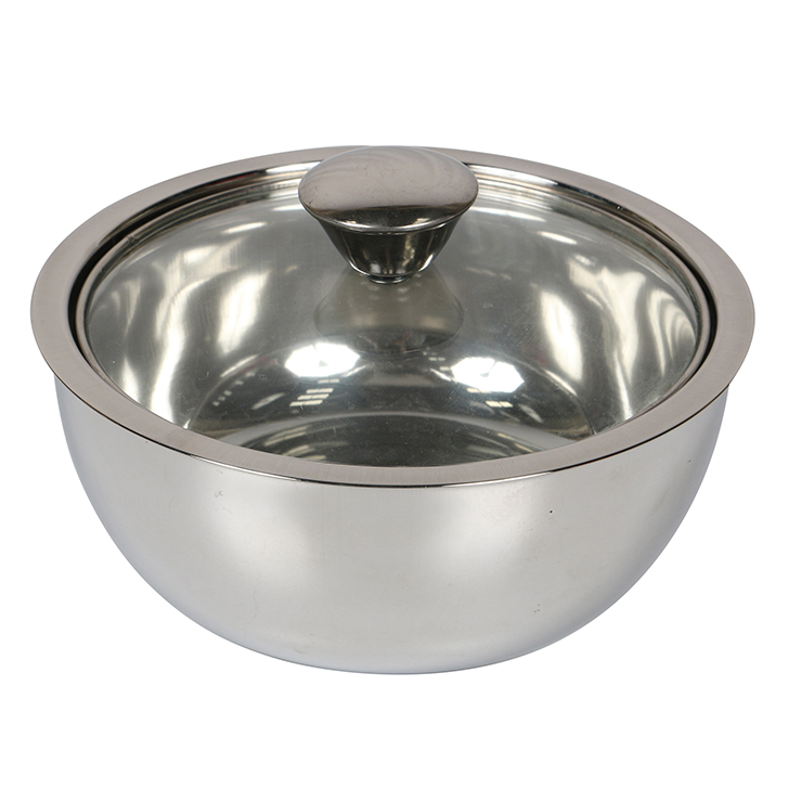 Mini Gravy Pot With Lid 850 ml Glass Casseroles in Silver Colour by Living Essence