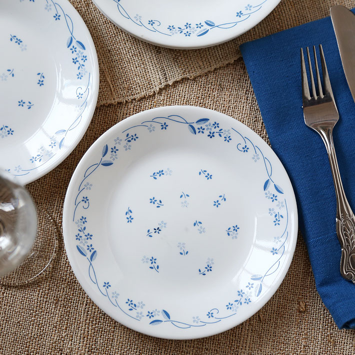 Corelle Provincial Blue Small Plate Glass Plates in White Colour by Corelle