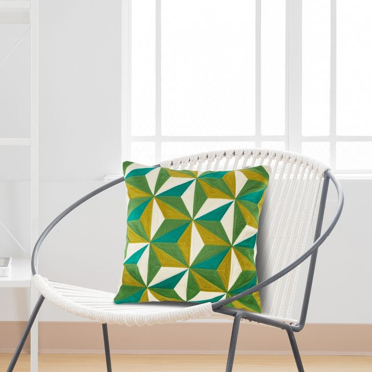 Rubicon Cotton Cushion Covers in Green Colour by Living Essence