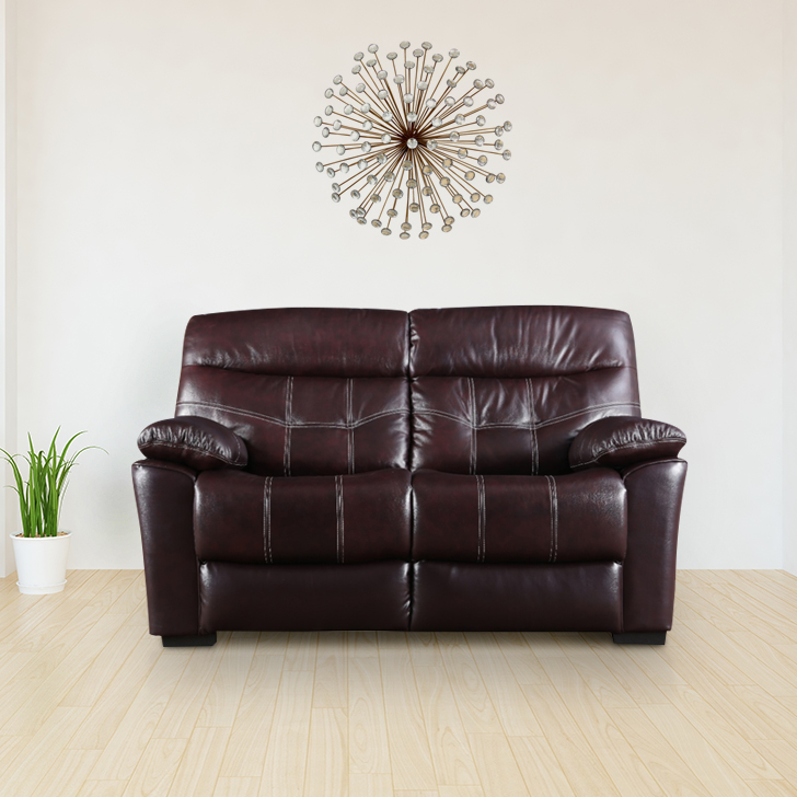 Bratislava Half Leather Two Seater Recliner in Wine Colour by HomeTown