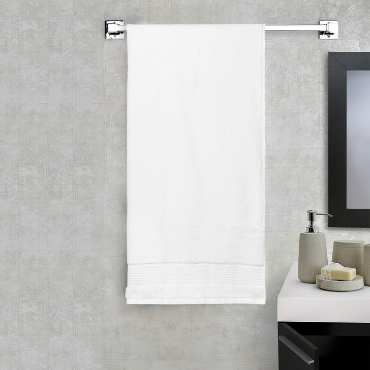 Spaces Cotton Bath Towel in White Colour by Spaces