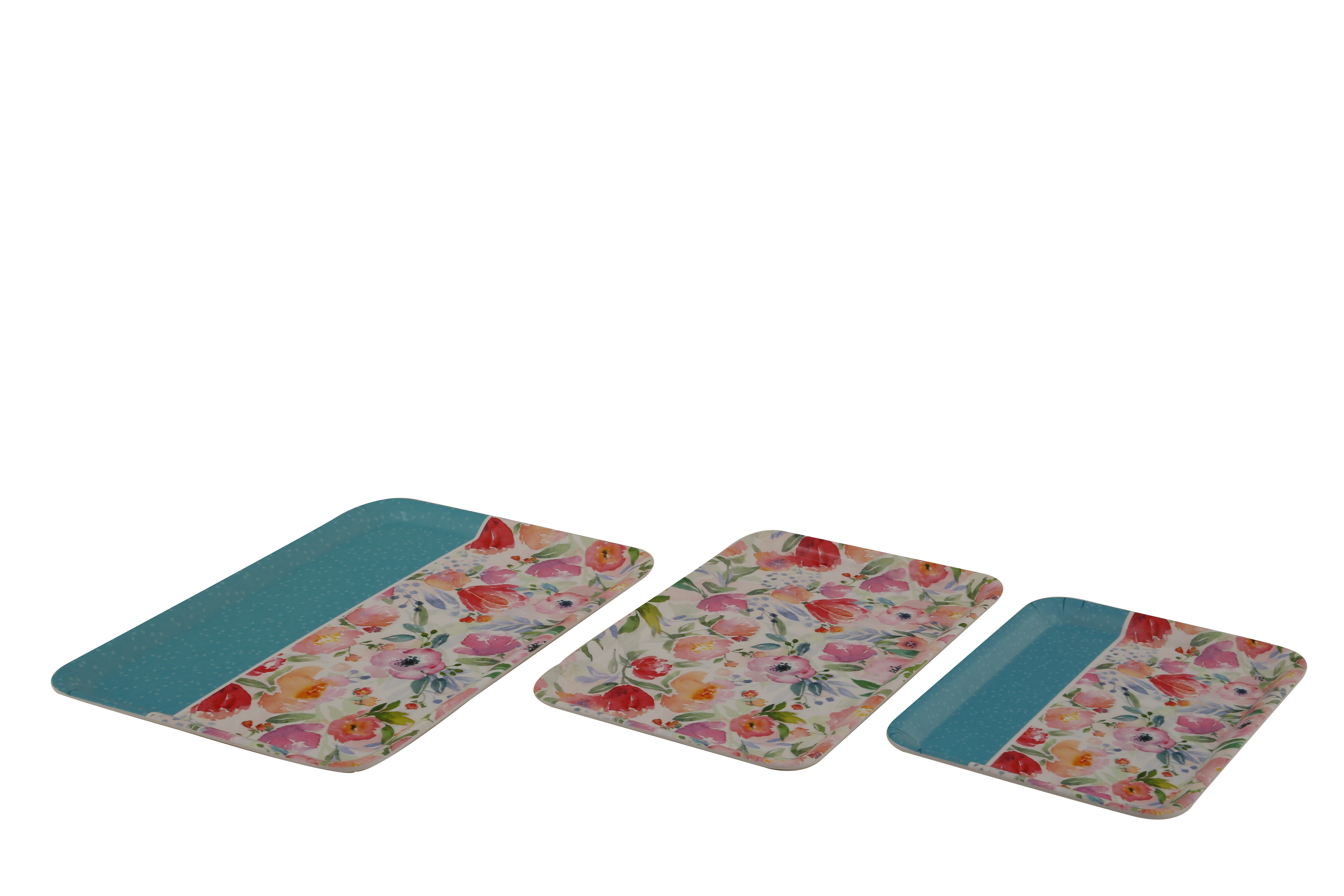 Blossom Trays Set Of Food Grade Melamine Trays in Multicolor Colour by HomeTown