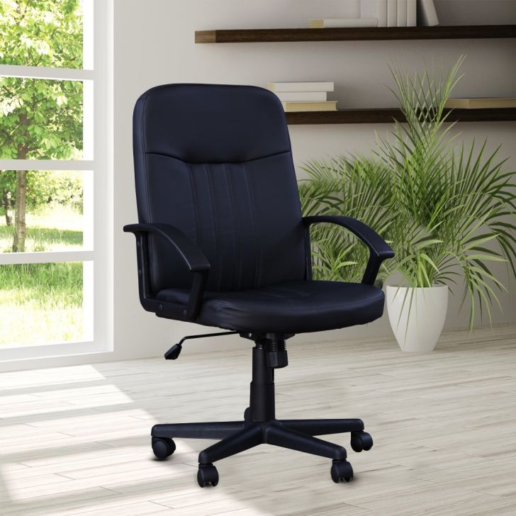 Mystic Leatherette High Back Office Chair in Black Colour by HomeTown