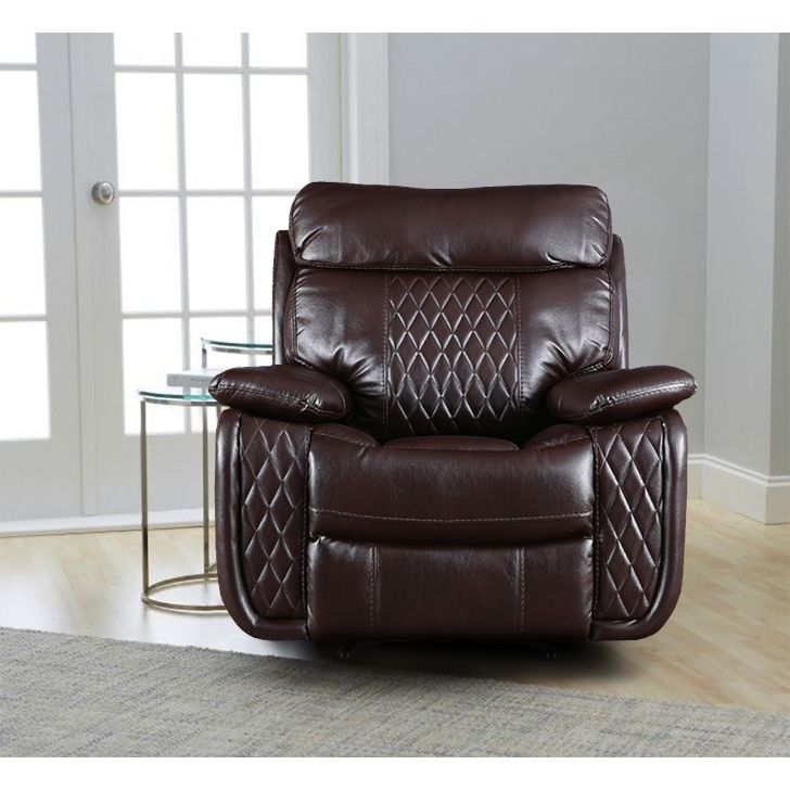 Edgar Leather Fabric Single Seater Sofa in Brown Colour by HomeTown