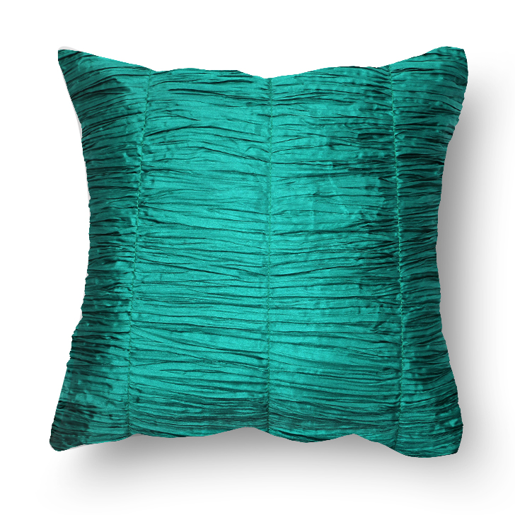 Crush Polyester Cushion Cover Teal Polyester Cushion Covers in Teal Colour by Living Essence