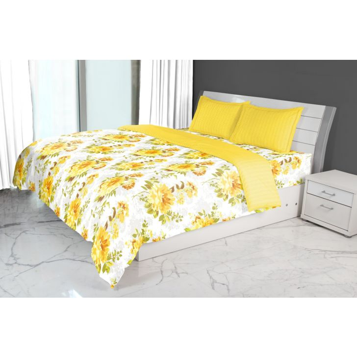 Nora Bloom Printed Double Comforter Mustard
