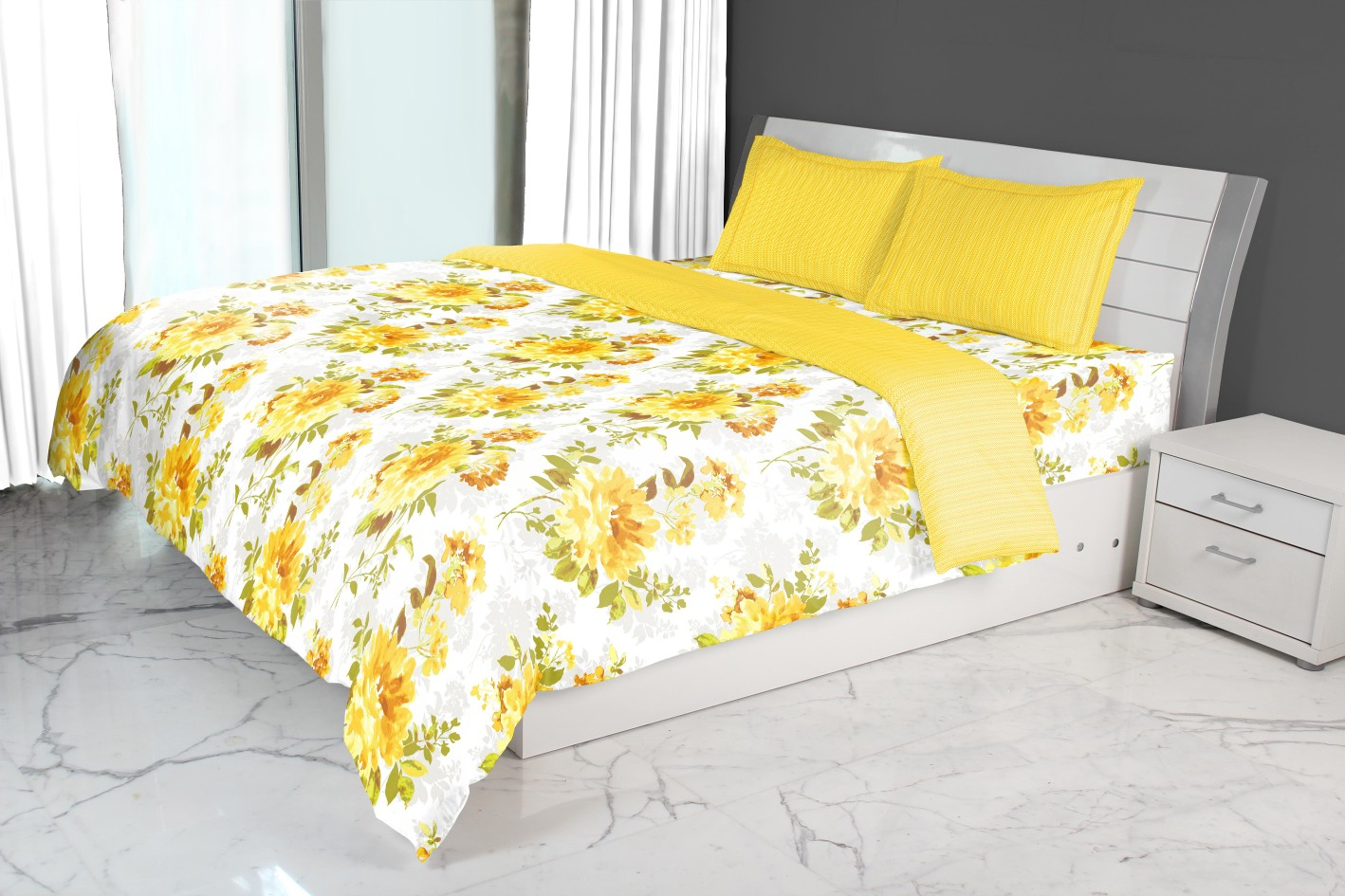 Nora Bloom Printed Double Comforter Mustard Comforters in Mustard Colour by Living Essence