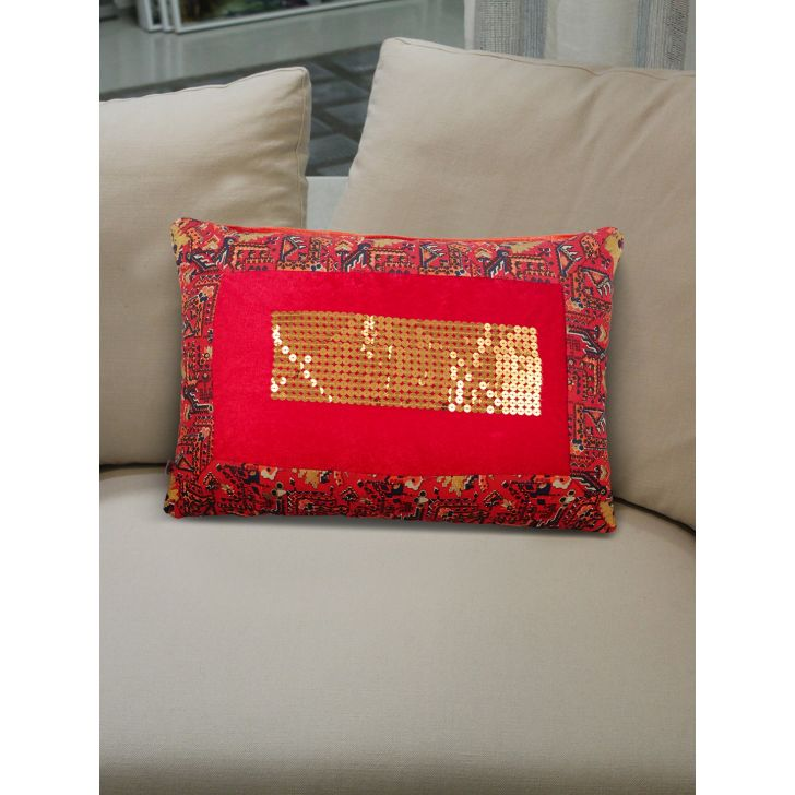 Folklore Noor Polyester Cushion Covers in Ruby Red Colour by Living Essence