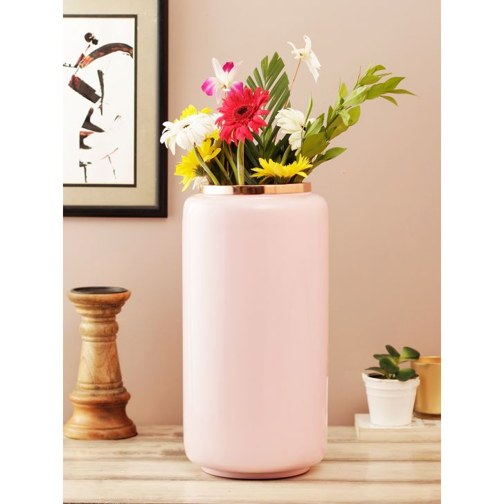 Allure Metal Vases in Peach Rosegold Colour by Living Essence