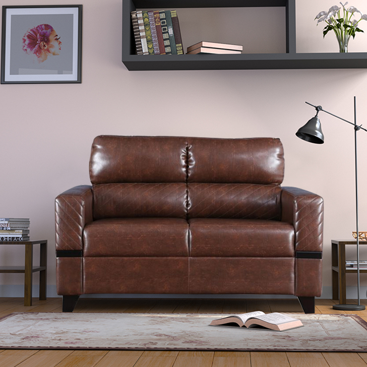 Benedict Fabric & Leatherette Two Seater sofa in Tan Colour by HomeTown