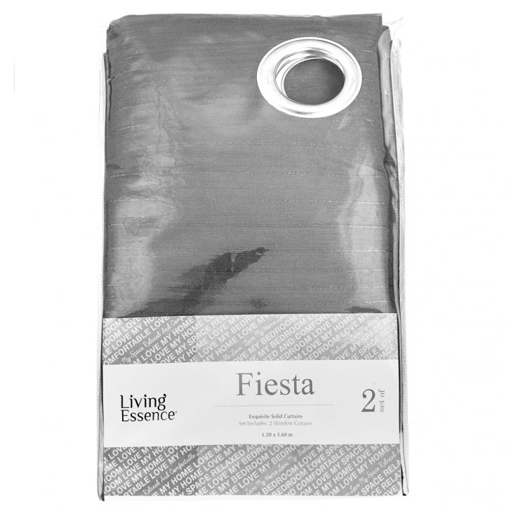 Fiesta Set of 2 Polyester Window Curtains in Charcoal Colour by Living Essence