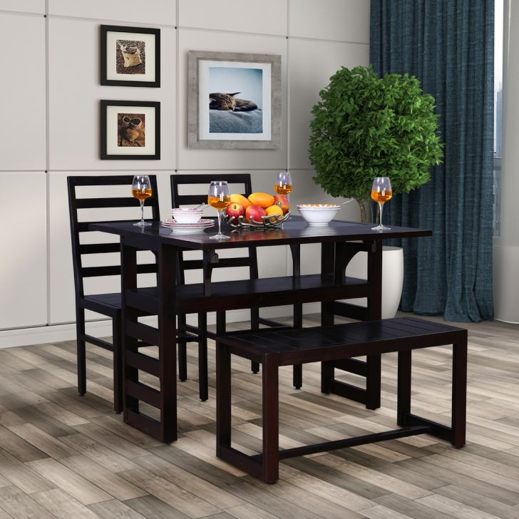 Durham Solid Wood Four Seater Dining Set With Bench in Walnut Colour by HomeTown