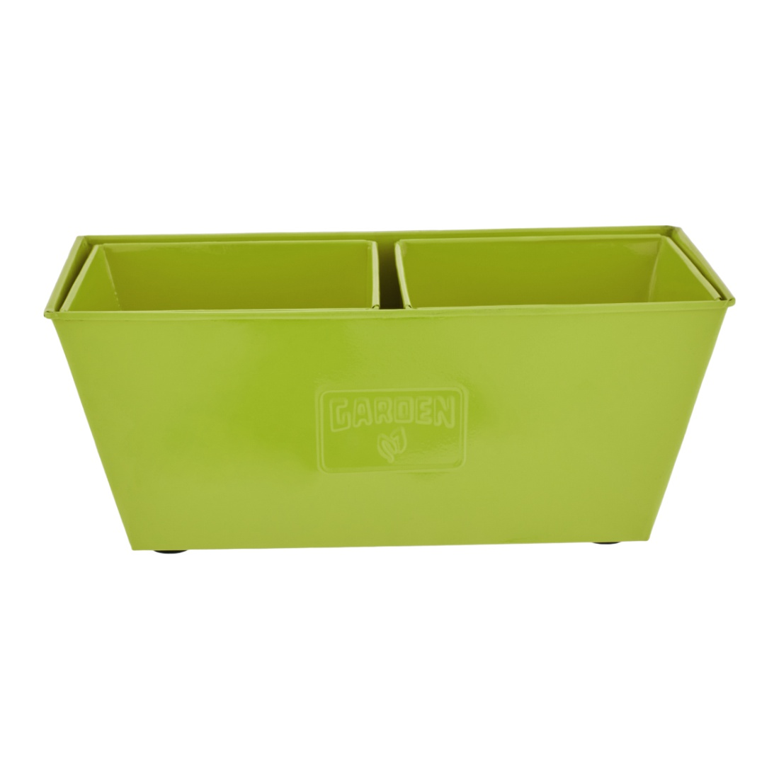 Aria Trapezium Planter Big Green Set of 3 Metal Pots & Planters in Green Colour by Living Essence