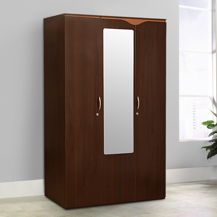 Swirl Engineered Wood Three Door wardrobe in Denver Oak , Urban Teak Colour by HomeTown