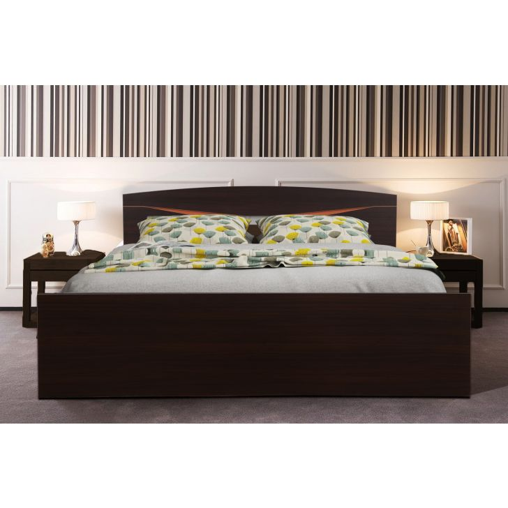 Viking Engineered Wood King bed without storage in Dark Oak Colour