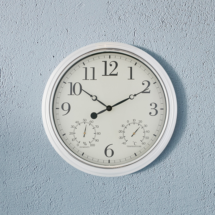 Aristo Simple Clock With Tempreture Scale Classic Clocks in Shiny Silver Colour by Living Essence