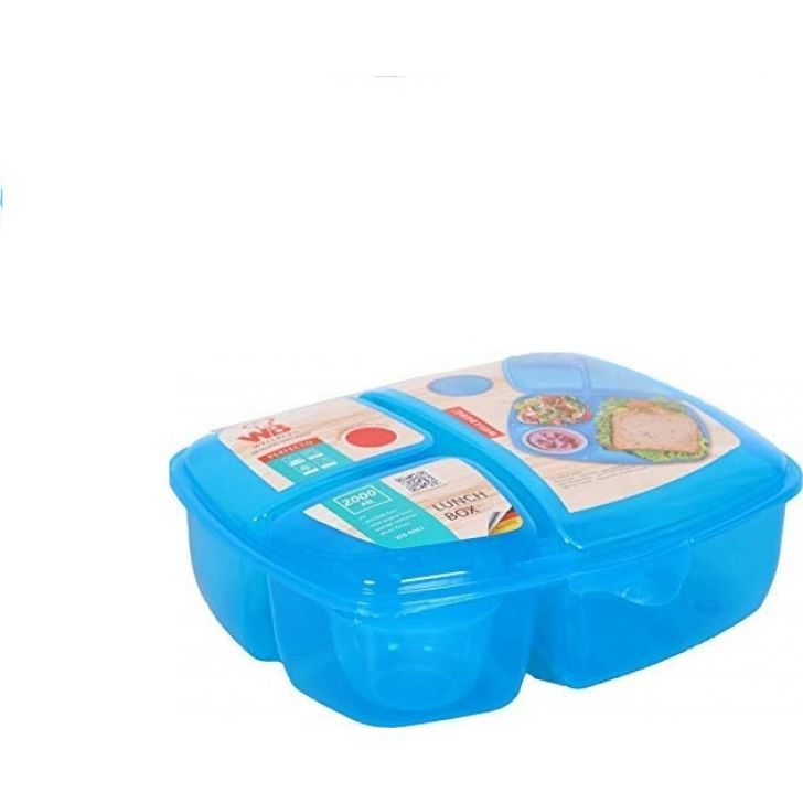 Lunch Box 2000 ml - WB-9662 (Assorted) Plastic Containers in Blue Colour by Wellberg