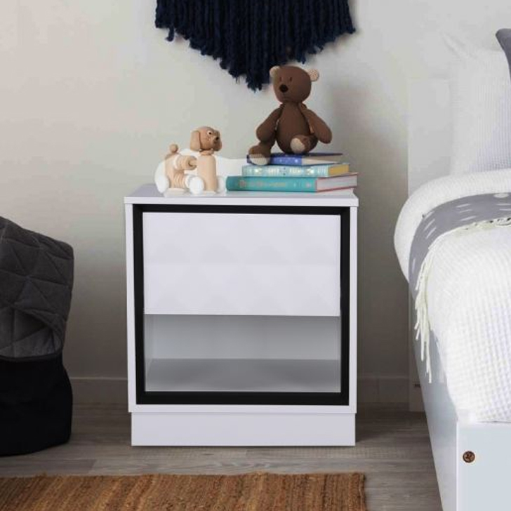 Giovanni Engineered Wood Bedside Table in High Gloss White Colour by HomeTown