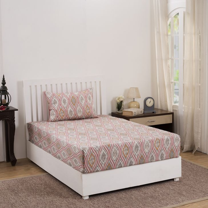 Maspar 210 TC Pietre Ogee Cotton Red Single Bedsheet with 1 Pillow Cover