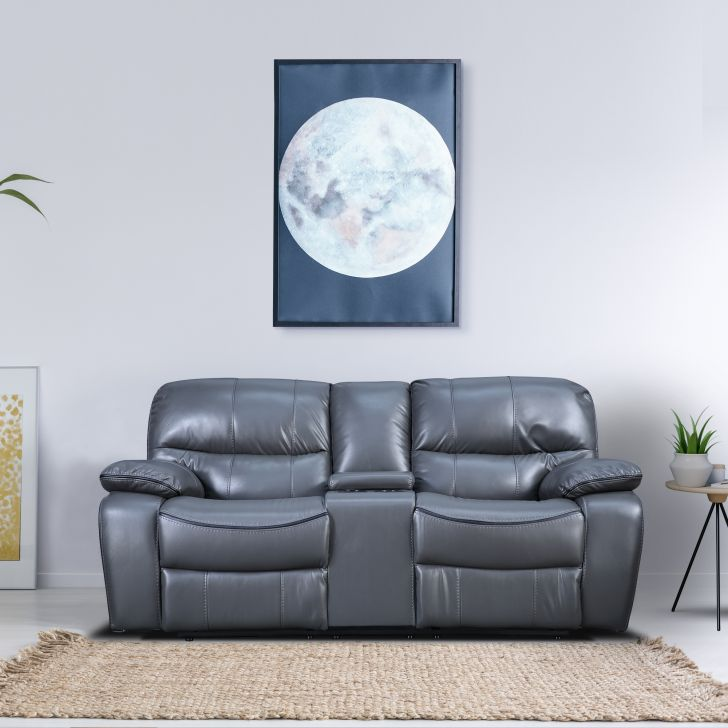 Indus Leatherette Two Seater Recliner in Grey Colour by HomeTown