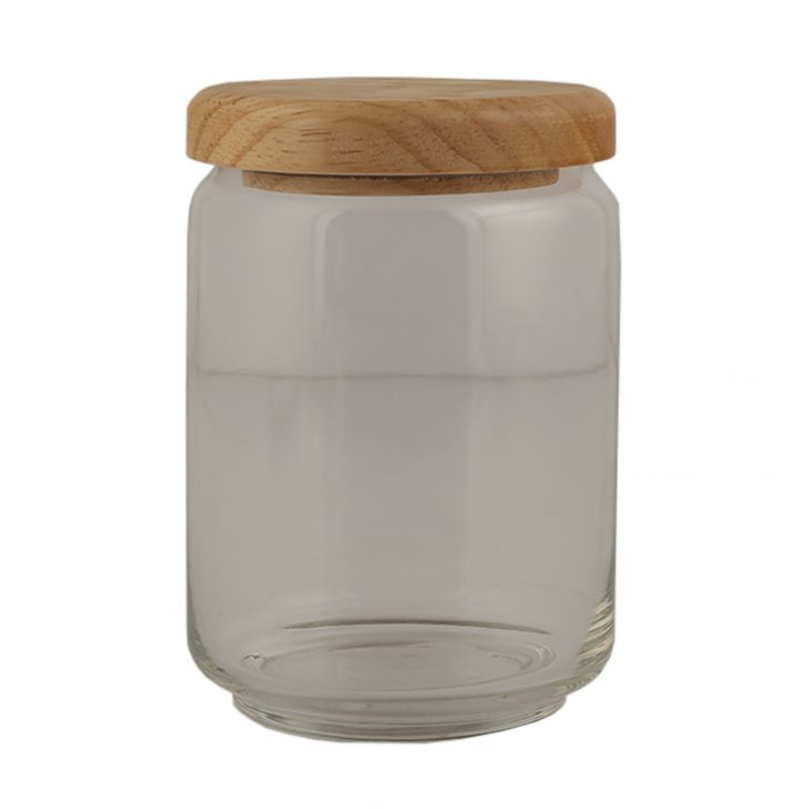 Ocean Pop Jar With Wooden Lid 500 Ml Glass Canisters & Jars in Transparent Colour by Ocean