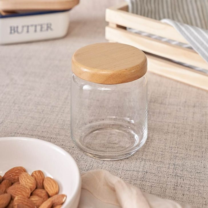 Ocean Pop Jar With Wooden Lid 500 Ml Glass Canisters & Jars in Transparent Colour