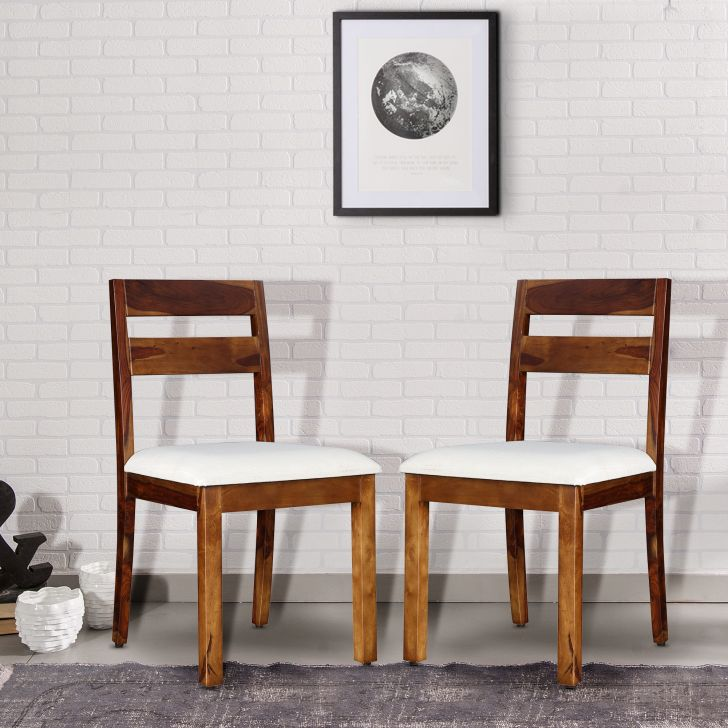 Glitz Solidwood Dining Chair Set of 2 in Teak Colour by HomeTown
