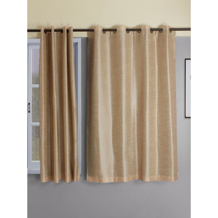 Set of 2 Emilia Blackout Polyester Window Curtains in Blush Colour by Living Essence