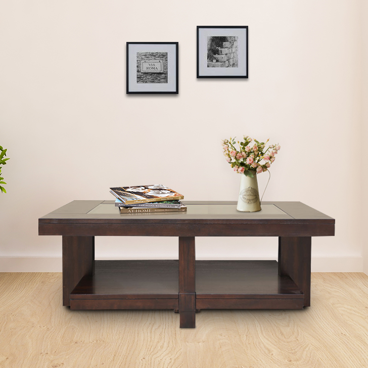 Joss Solid Wood Center Table in Dark Walnut Colour by HomeTown