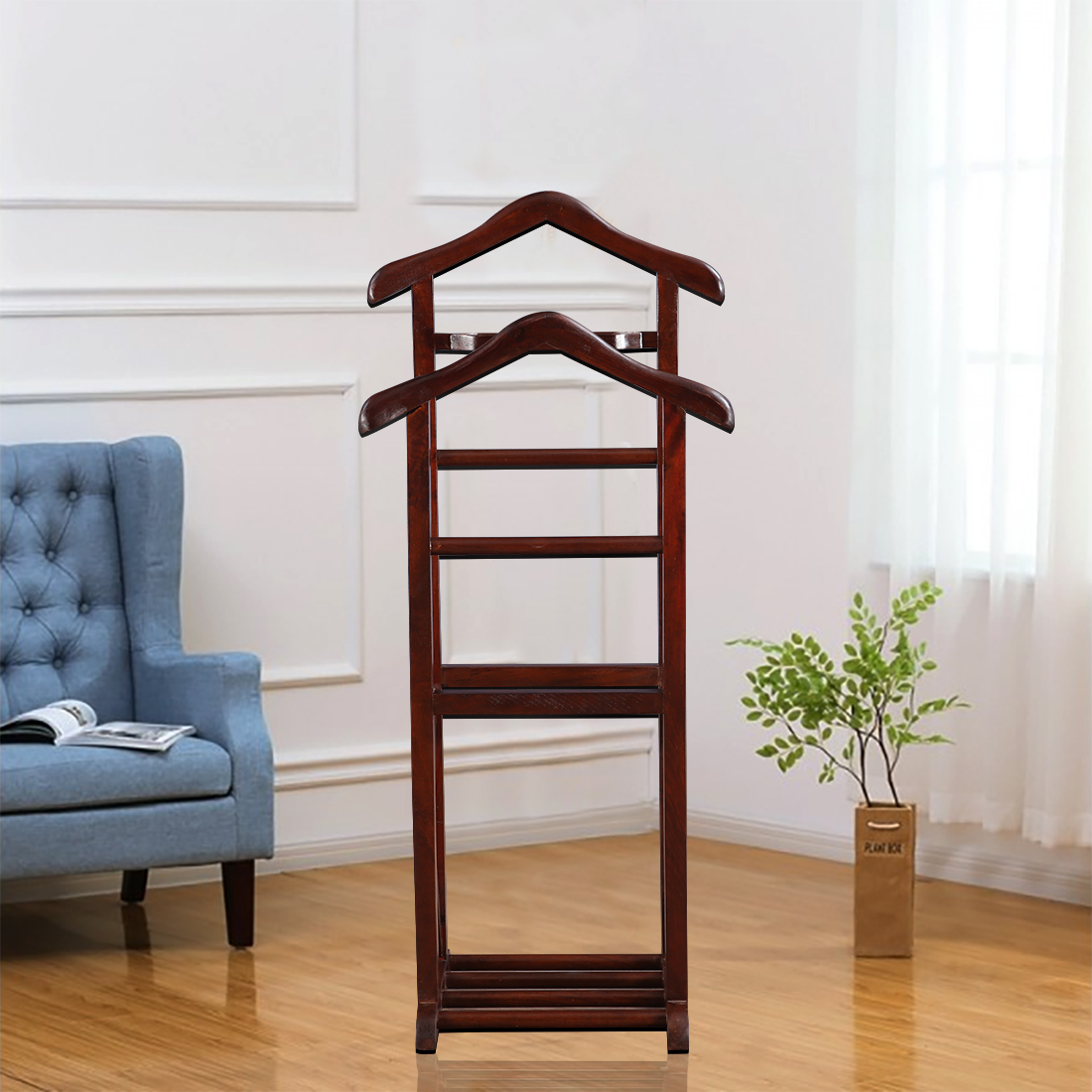 Magnum Sheesham Wood(Rosewood) Valet Stand in Brown Colour by HomeTown