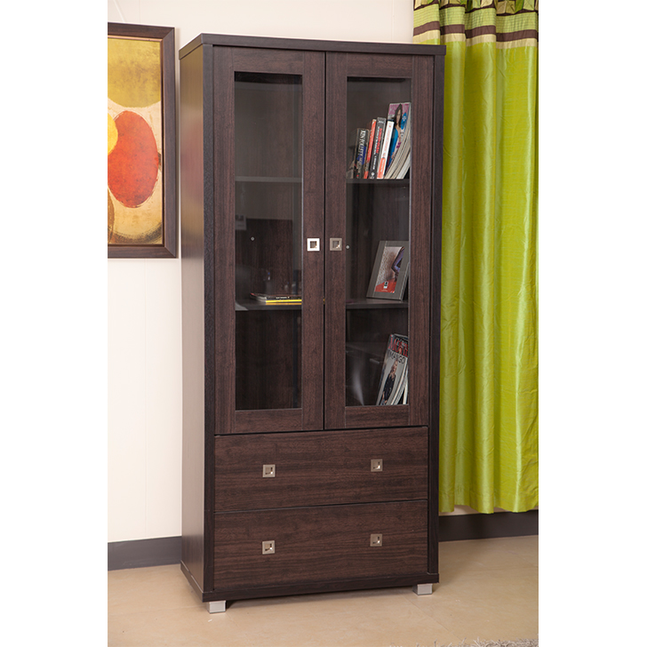 Evergreen Engineered Wood Book Shelf in Wenge Colour by HomeTown