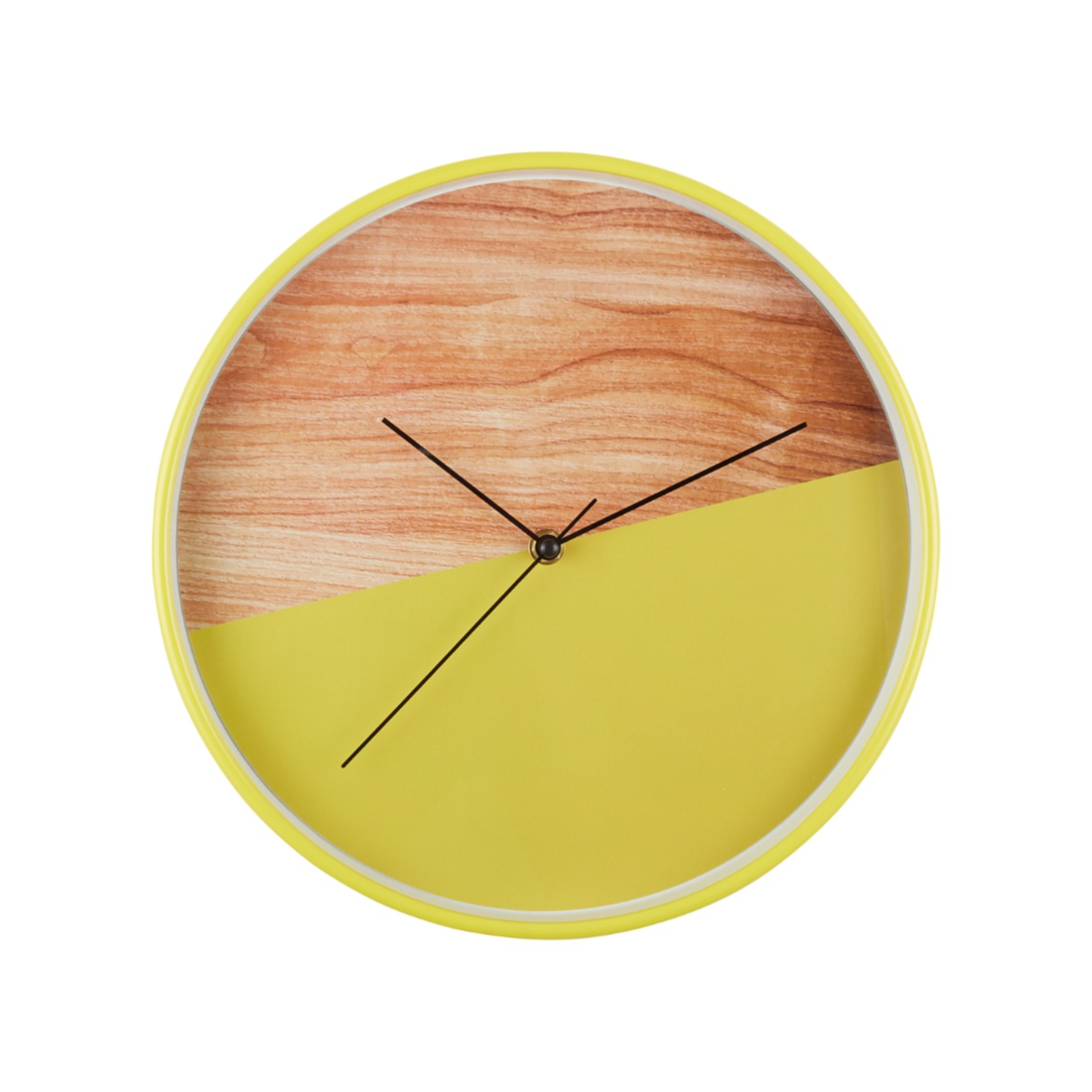 Aeon Half-In-Half Wall Clock Plastic Modern Clocks in Yellow&Wood Colour by Living Essence