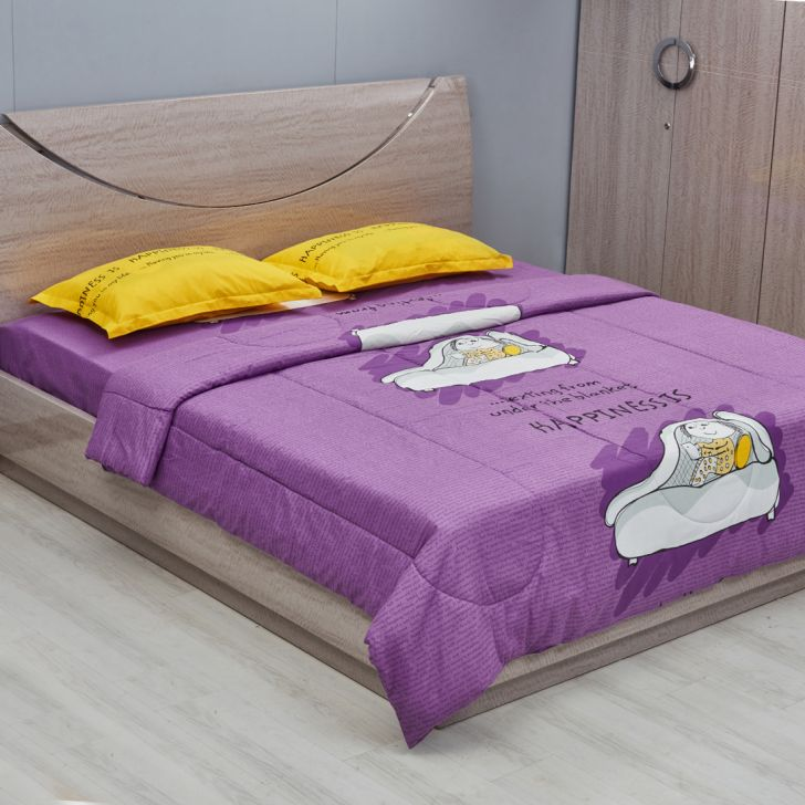 Happiness Double Comforter Purple Cotton Comforters in Purple Colour by Living Essence