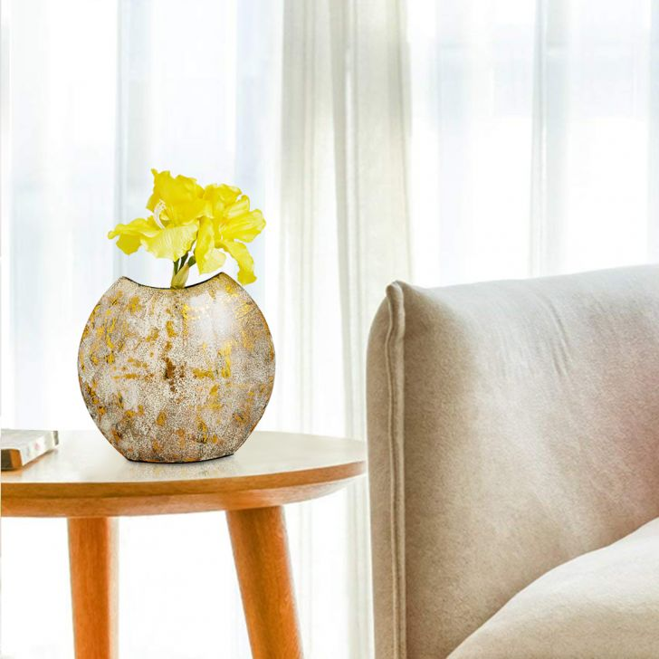 Novel Modern Round Vase 30 Cm Gold Bamboo Vases in Gold Colour by Living Essence