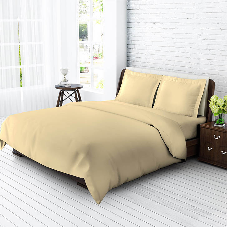 Tangerine Senso Naturals Cotton King Bed Sheets in Beige Colour by Tangerine