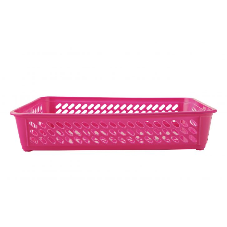 Sieve Multi Purpose Basket Pink Plastic Kitchen Organizers in Pink Colour by Living Essence