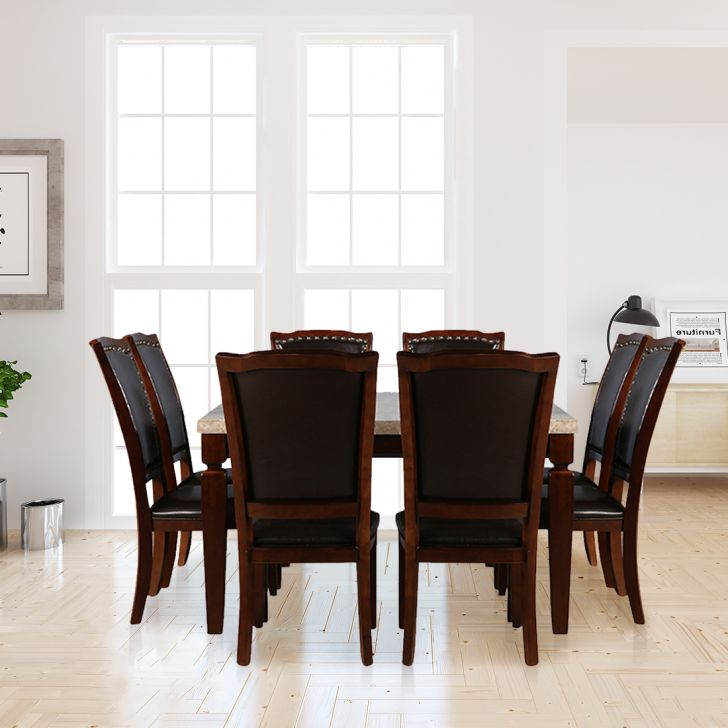 Bliss Solid Wood Eight Seater Dining Set in Beige & Brown Colour by HomeTown