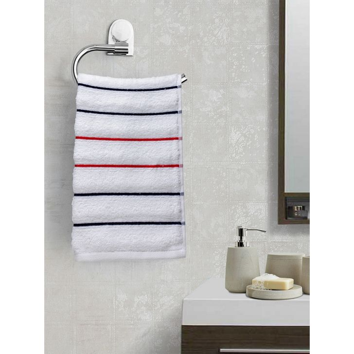 Portico New York Myra Multistripe Hand Towel 60 cms x 40 cms in White Color by Portico