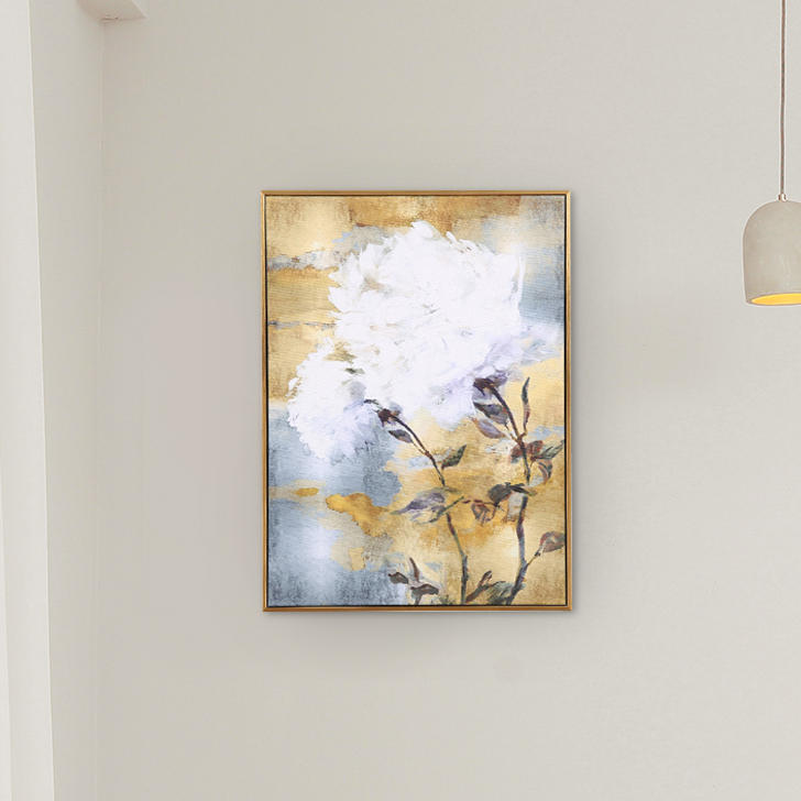 Hayden Gold Flower 43X58Cm Painting Canvas Paintings in MULTICOLOUR Colour by Living Essence