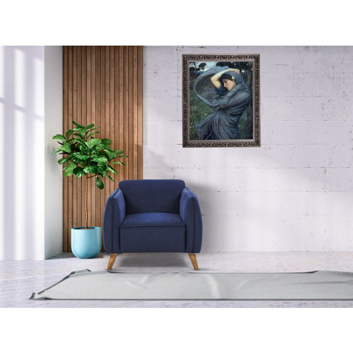 Brawny Solid Wood Single Seater Sofa in Blue Colour
