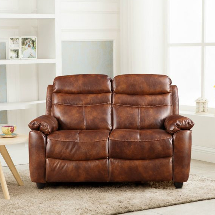 Logan Fabric Two Seater Sofa in Brown Colour by HomeTown