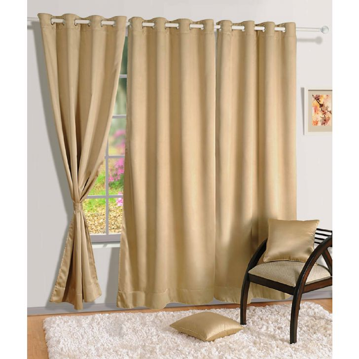 Solid Blackout Long Door Curtain In Beige Color By Swayam
