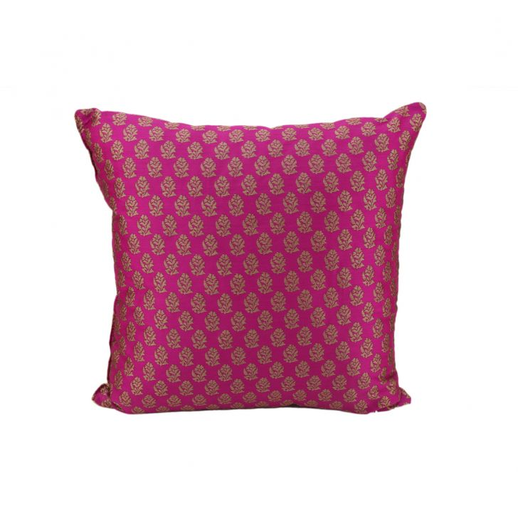 Miraya Gold Polyester Filled Cushions in Magenta Gold Colour by Living Essence