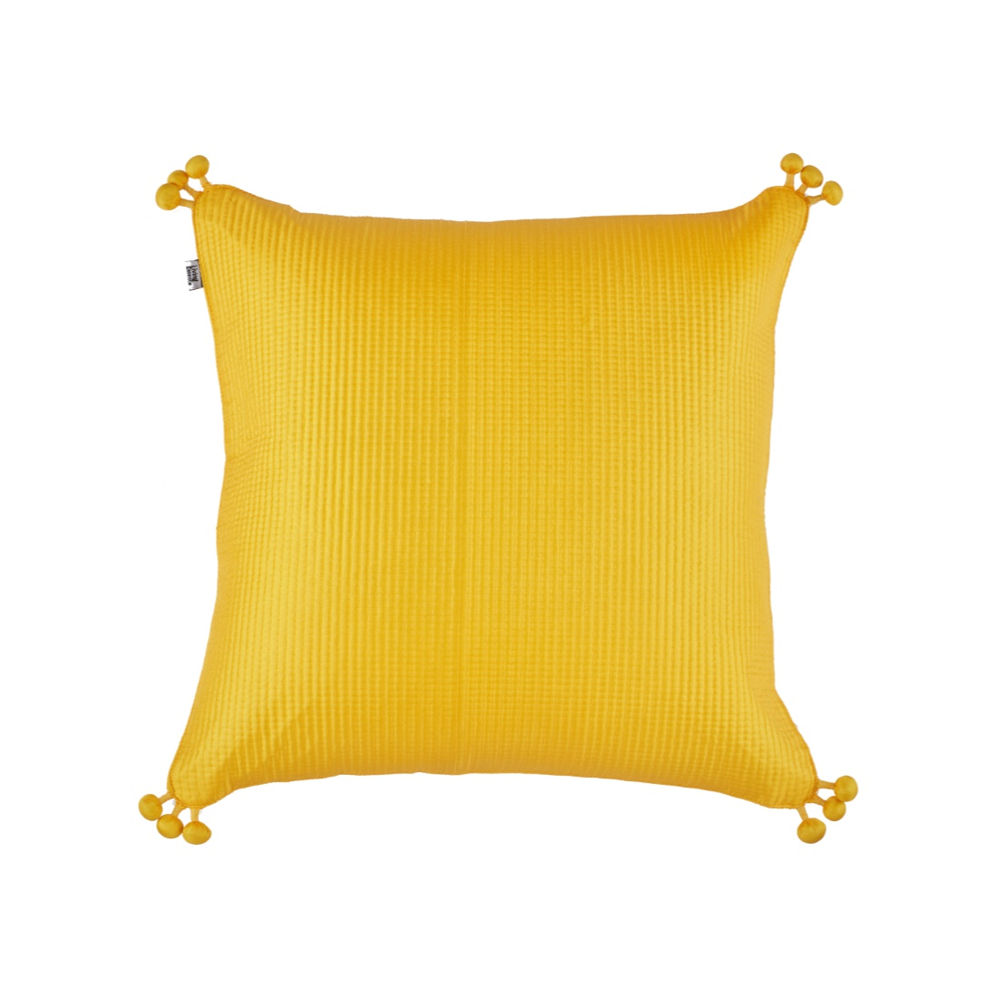 Pompom Cushion Cover 40X40 Cm Yellow Polyester Cushion Covers in Yellow Colour by Living Essence