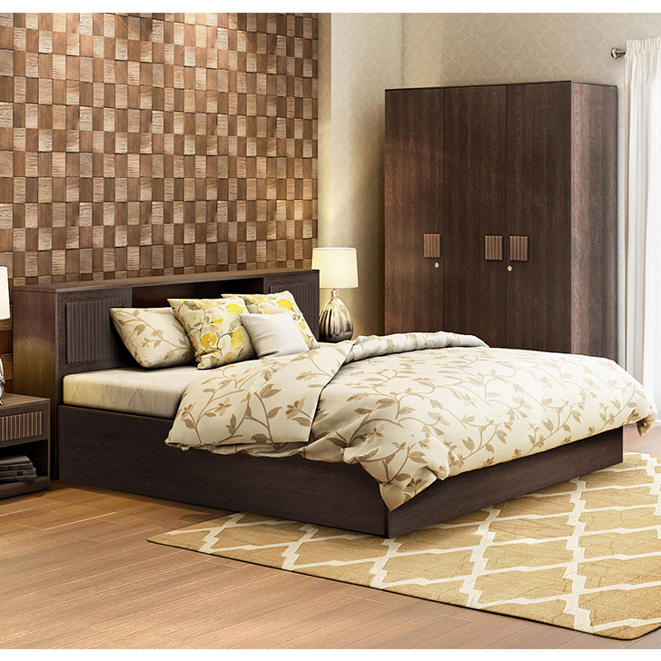 Tiago Engineered Wood Box Storage King Size Bed With Three Door Wardrobe Combo in Wenge Colour by HomeTown