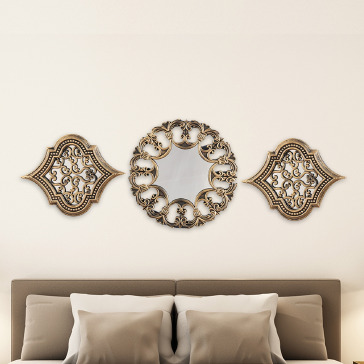 Reflection Gold Ornate Mirror Set Of Three Polyresin and Mirror Small Wall Accents in Gold Colour by Living Essence