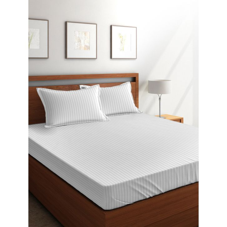 Tangerine Weaved Cotton Double Bed Sheets in White Colour by Tangerine