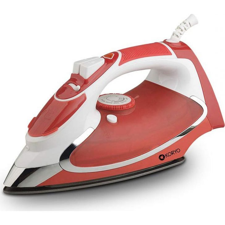 Steam Iron With Anti Calc Technology (1600 W) - Red by Koryo