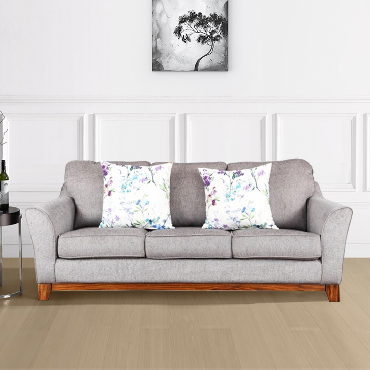 Buy Rotterdam Fabric Three Seater Sofa In Grey Colour By