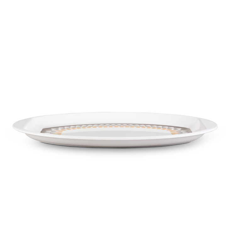 Oval Serving Patter Urmi Country Side Platters in White Colour by Living Essence